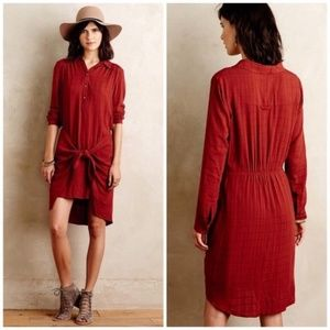Anthropologie Maeve Bloomsbury Tie Shirt Dress